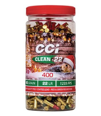 CCI Christmas Pack Clean-22 High-Velocity Ammunition 22 Long Rifle 40 Grain Red and Green Polymer Coated Lead Round Nose Bottle of 400
