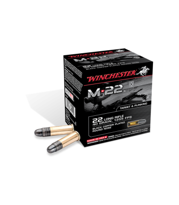 Winchester M-22 Ammunition 22 Long Rifle 40 Gr Black Plated LRN 500 Rd Bulk - S22LRT