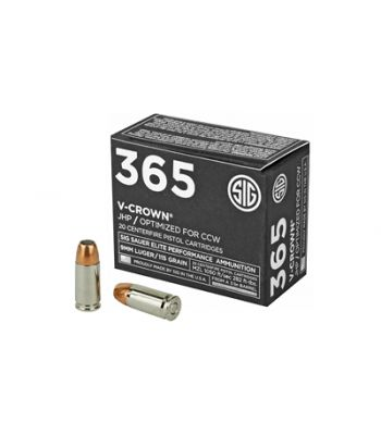 Sig Sauer 9mm 115 Gr JHP Elite V-Crown 365 Ammo 20 Rounds