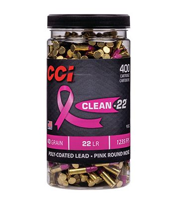 CCI Clean-22 High-Velocity 22 LR 40 Grain Pink Polymer Coated Bottle of 400 - 955CC